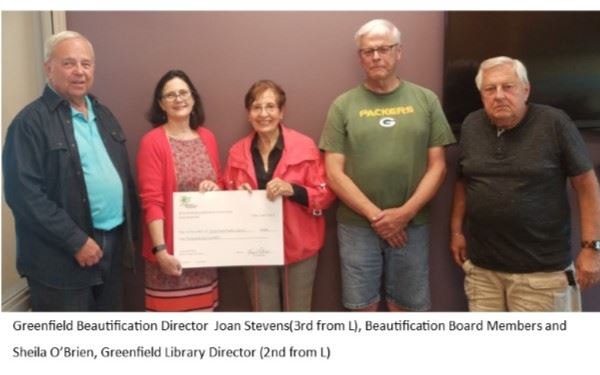 Greenfield Beautification Committee Matching Donation to Greenfield Library