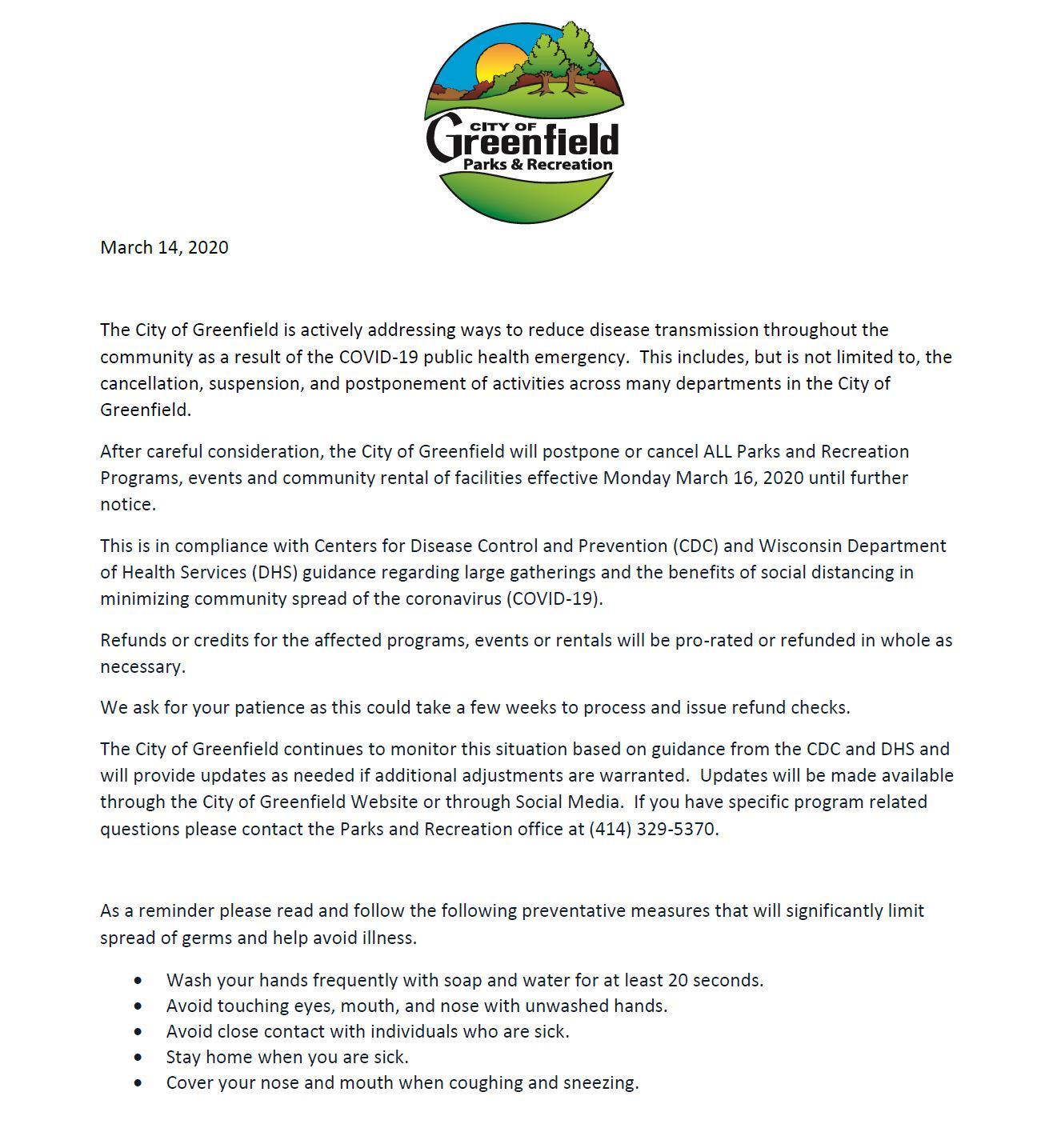 Press Release 2020 on Park and rec Program cancellation