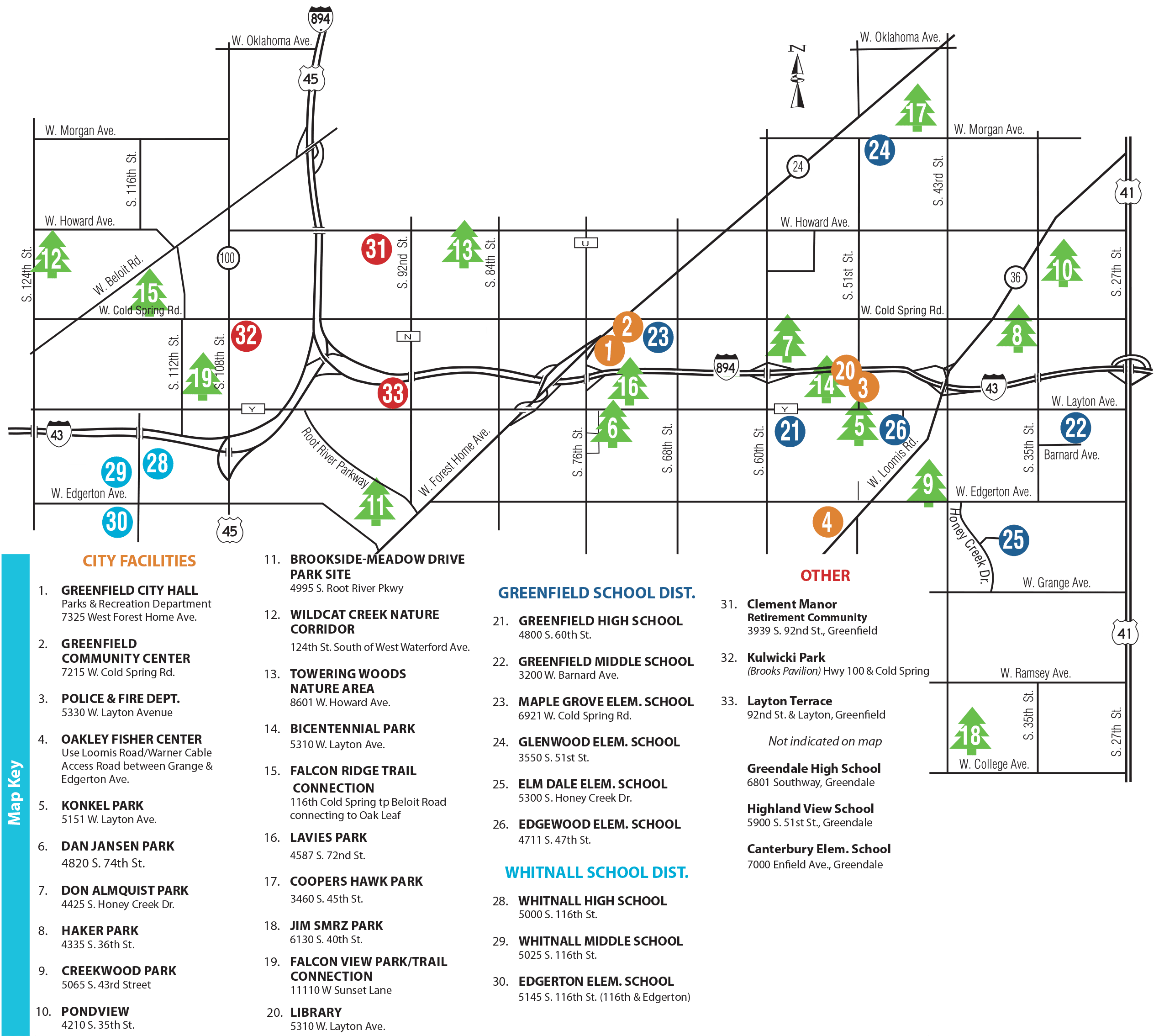 City of Greenfield Parks & Facilities Map