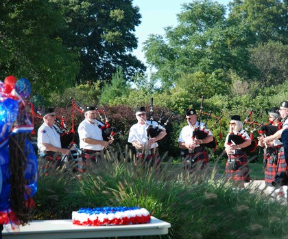 A group of bagpipes players perform at the 9/11 Ceremony.